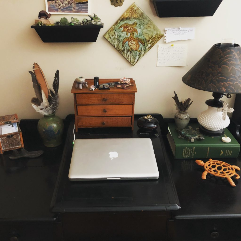 My writing spot is an antique teacher's desk that belonged to my Dad